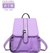 Women Leather Backpacks Student School Backpacks Mixed Color Medium Bag... - $37.99