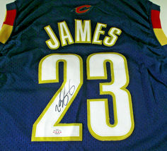 LEBRON JAMES / AUTOGRAPHED CLEVELAND CAVALIERS PRO STYLE BASKETBALL JERSEY / COA image 3