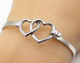 925 Silver - Vintage Double Open Loved Heart Hooked Bangle Bracelet - B3304 - $86.84