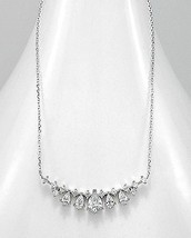 18K VERMEIL-Radiant Tear Drop + Bezel Prong set 5A CZ Necklace-Pendant 925/SS - $49.49