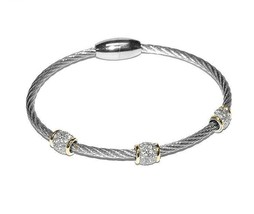 Two Tone 3 Pave Barrels AAA CZ Cable Bangle Bracelet With Magnetic Lock-ST - $19.79
