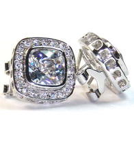 Pave & Clear Square Cubic Zirconia HOOP-OMEGA-FRENCH Back Earrings 15MM - $49.49