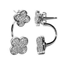 New Pave Double Clover Clear Cz Hoop Dangle Earring -BRIDAL - $29.69