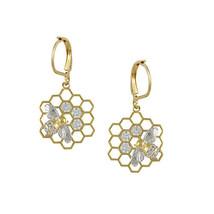 Art Deco Honeycomb With Bee + Cubic Zirconia GEP Lever Back Dangle Earrings - $34.64