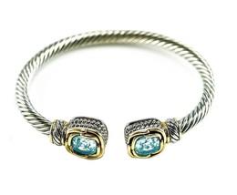 5CTW Cushion Cut Aqua AAA Cubic Zirconia Cable Two Tone Bangle Bracelet - $19.79
