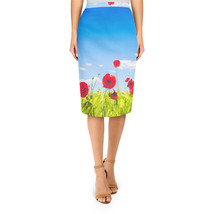 Red Poppies Field Midi Pencil Skirt - $32.99+