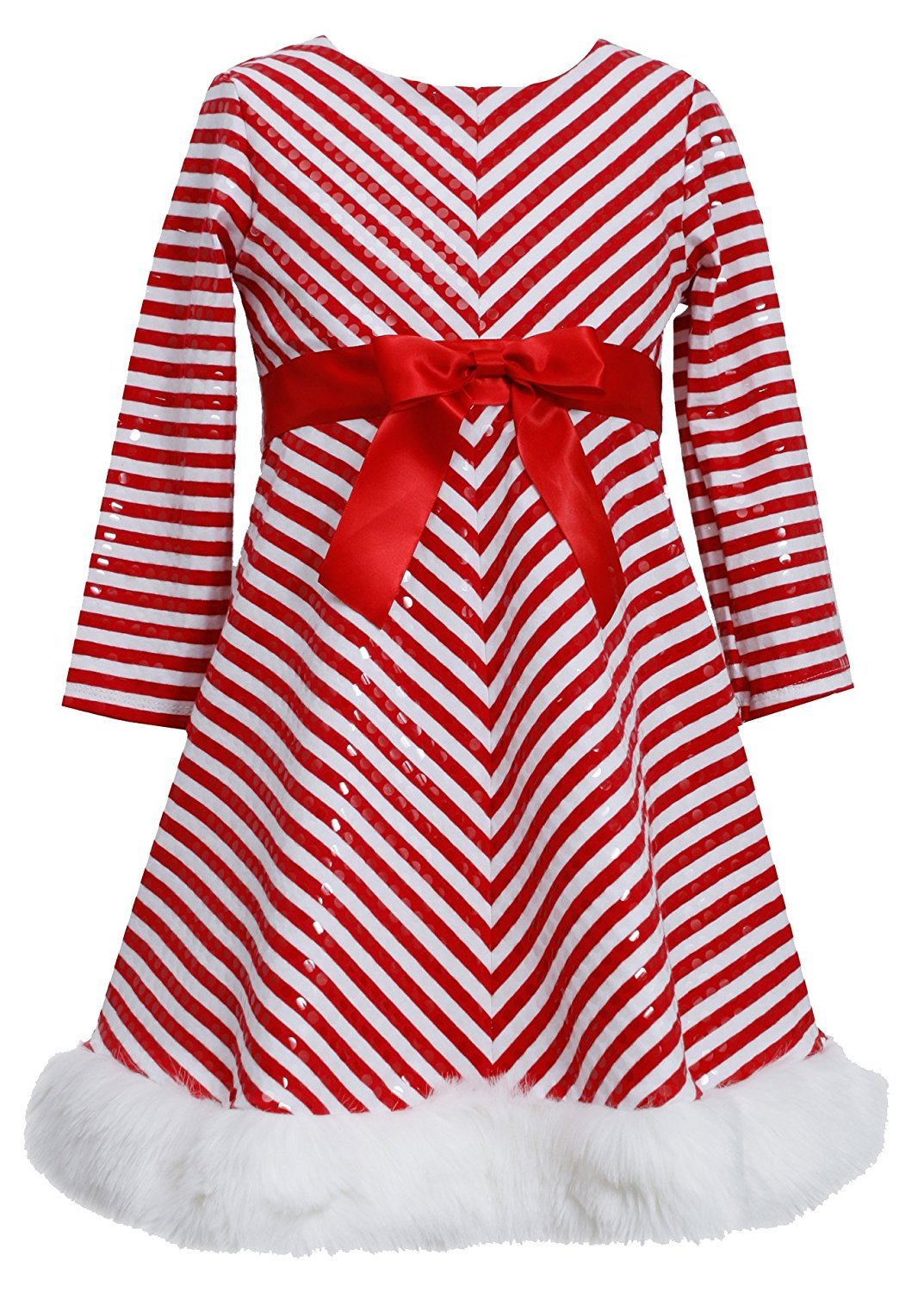 Big Girl Tween 7-16 Red White Mitered Stripe Santa Dress, Bonnie Jean