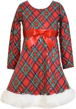 Little Girls 2T-6X Red Green Spangle Plaid Santa Dress, Bonnie Jean