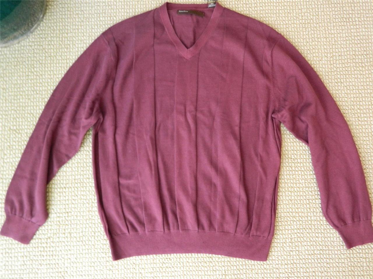 Perry Ellis Sweater Pullover V- neck Cotton Knit  L/S XXL NWT - $22.72