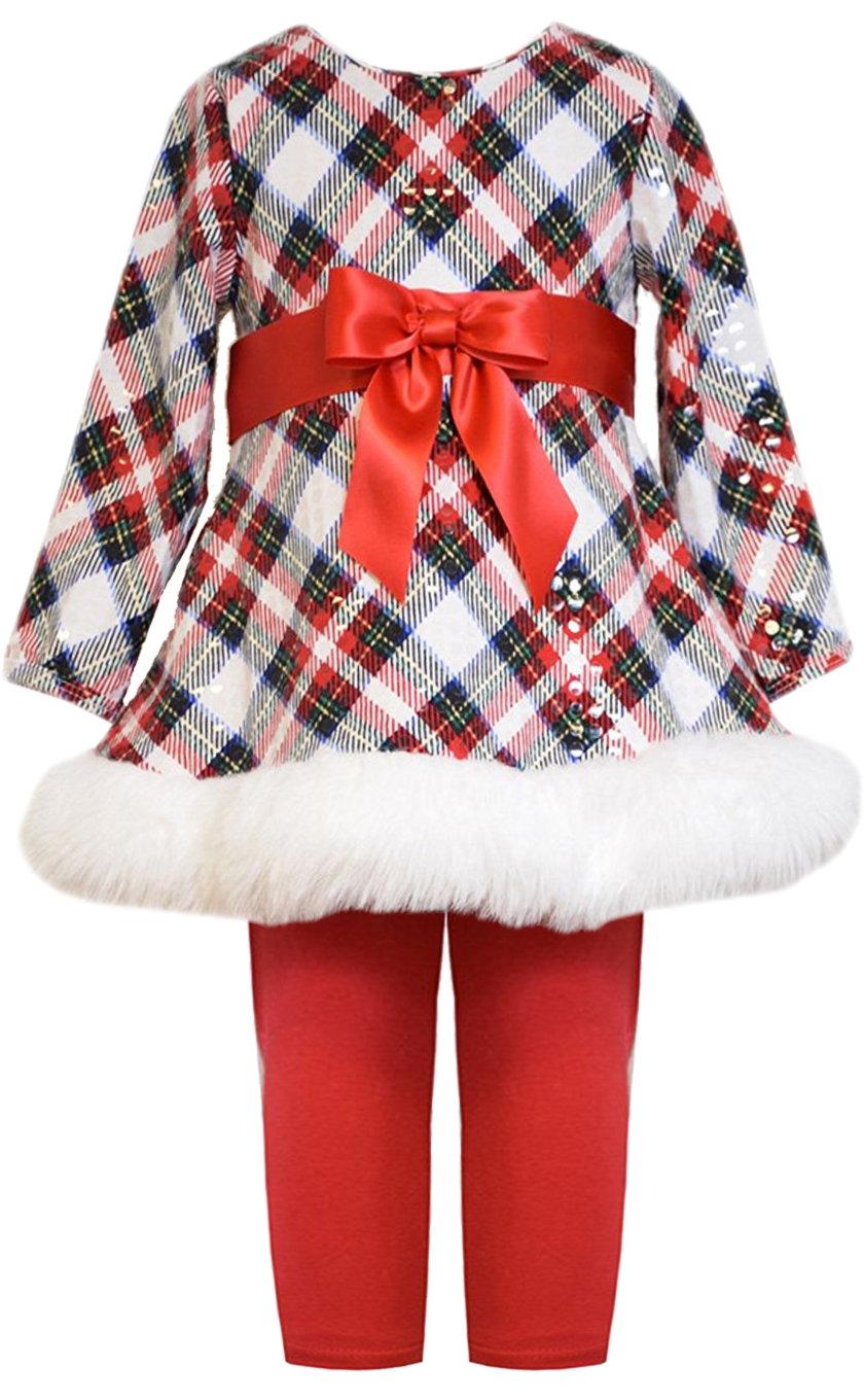 Little Girls 2T-6X Red Multi Spangle Plaid Santa Dress/Legging Set,Bonnie Jean