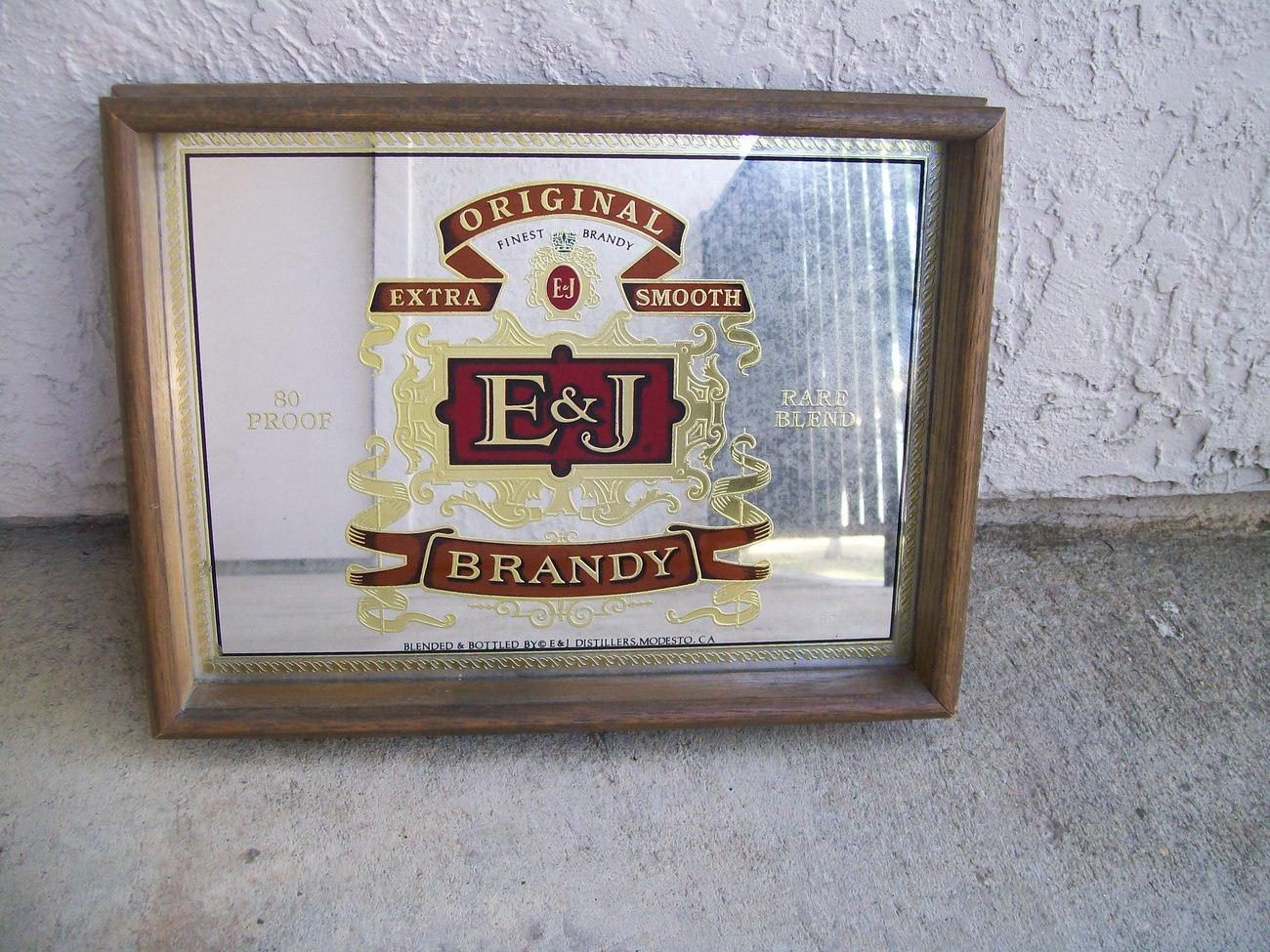 Vintage 70 S E Amp J Brandy Liquor Bottle Label Logo Mirror