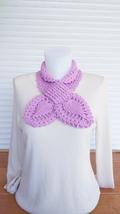 Handmade knit scarf. Keyhole scarf. Lilas crochet scarf. Neck warmer sca... - $35.00