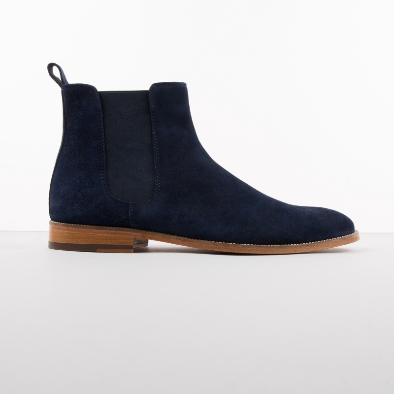 handmade navy blue boots suede leather boot for