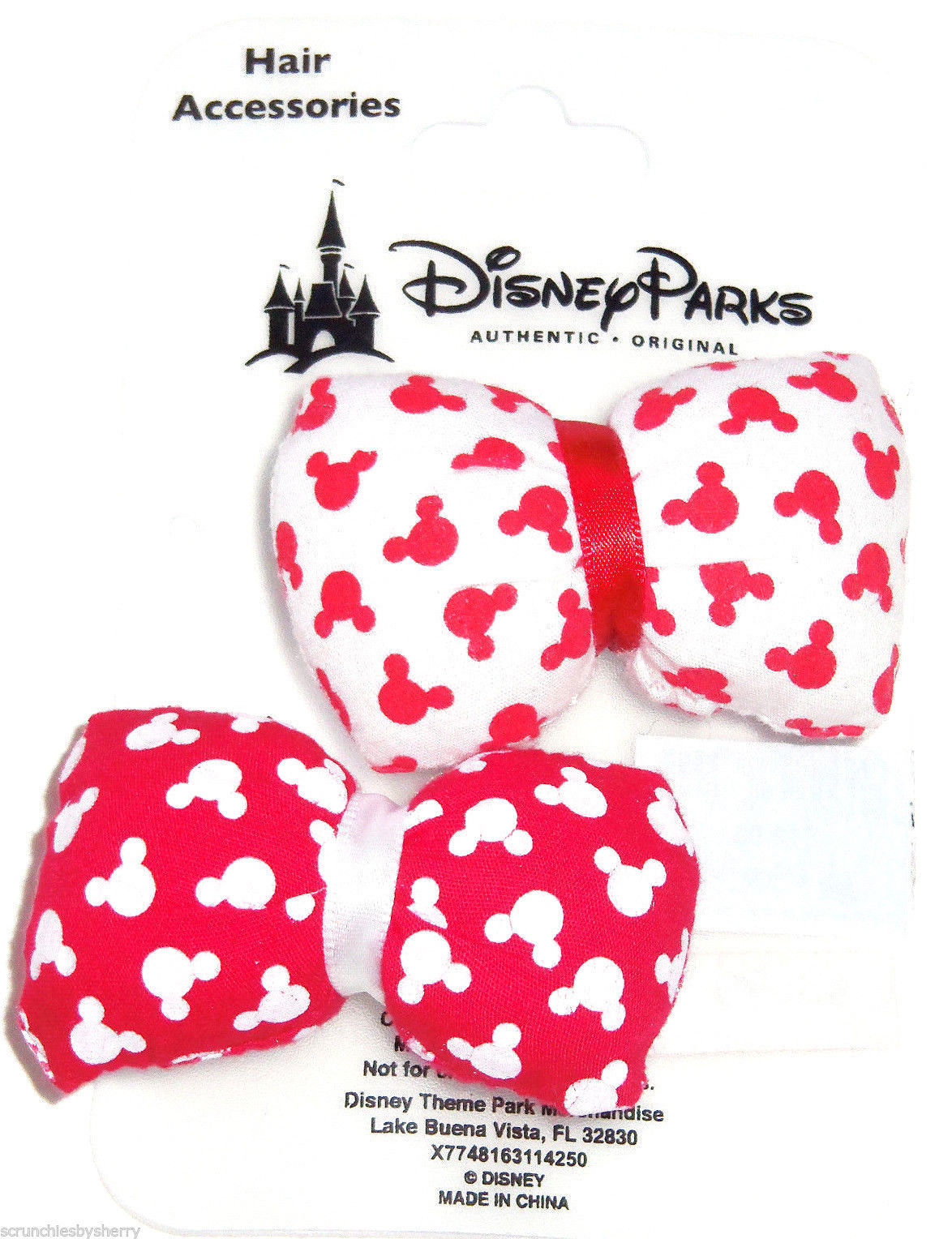 Disney Minnie Mouse Hair Barrettes Puffy Bows Red White Clasp Theme Parks  - $22.11