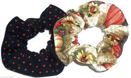 2 Halloween Fabric Hair Scrunchies by Sherry Sunflowers Pumpkins Orange ... - $13.95