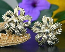 Vintage Coro Pinwheel Flower Star Burst Rope Twist Earrings Gold Tone - $14.95