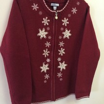 CROFT & BARROW SNOWFLAKE ZIPPER FRONT SWEATER~RED MAROON~SIZE PS~NWT - $9.95