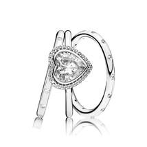 925 Sterling Silver Glittering Heart Rings Stack Set For Women - $48.66