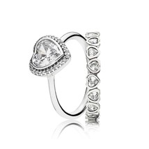925 Sterling Silver Stunning Sparkling Hearts Rings Stack,Ring Set For Women - $40.99