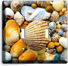 SEA SHELLS BEACH STONES DOUBLE LIGHT SWITCH WAL... - $9.59