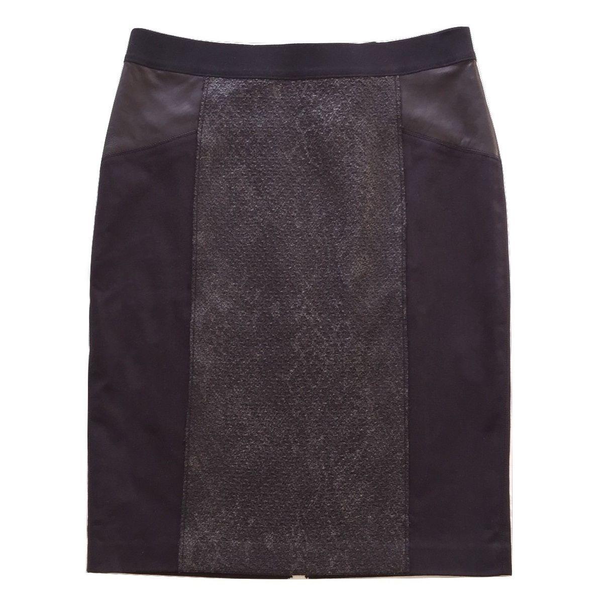 """NWT $348 ELIE TAHARI Black """"Valeria"""" Pencil Skirt w/ Lamb Leather Panel Size 6/8 - $85.00"""
