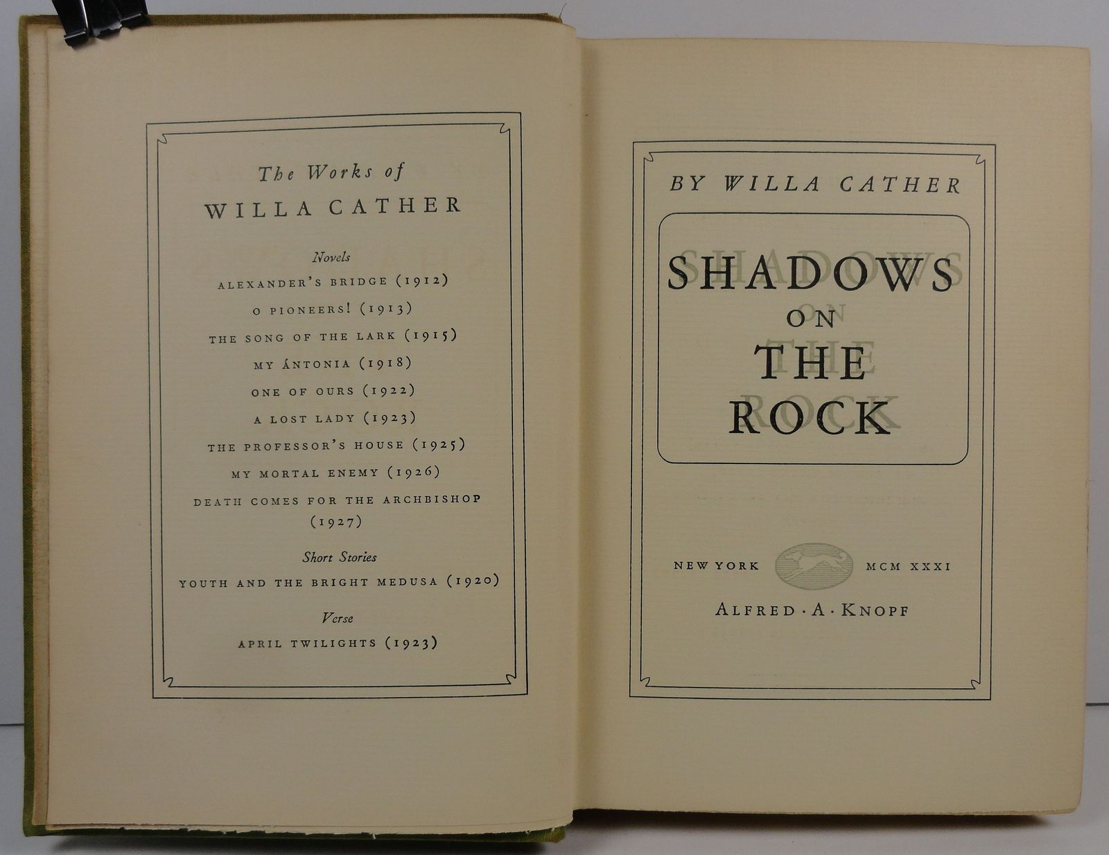 Shadows on the Rock by Willa Cather 1931 Alfred A. Knopf