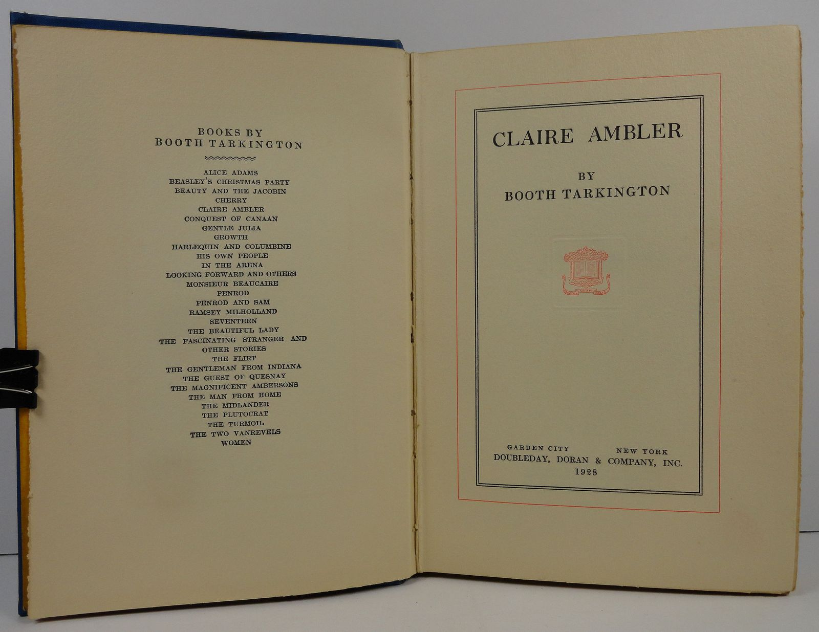 Claire Ambler by Booth Tarkington 1928 Doubleday, Doran