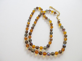 JOAN RIVERS amber and smokey glass beaded necklace. Retired QVC. - $15.00