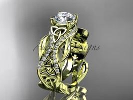 Unique Celtic wedding band, 14kt yellow gold diamond celtic trinity knot wedding - $2,100.00