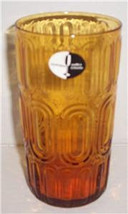 NEW Pier 1 Mouth-Blown Pressed Designed Tall Large Amber Brown Glass Tum... - $13.99