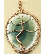 Tree Of Life Agate Copper Wire Wrap Pendant 92 - $9.16