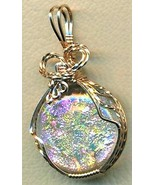 Pink Green Dichroic Glass Bronze Wire Wrap Pend... - $15.02
