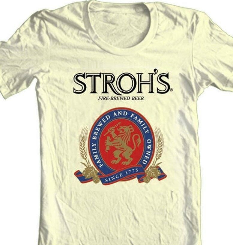 Strohs Beer T-shirt Free Shipping retro style cotton blend graphic grey tee