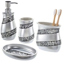 Restroom Accessories 4-Piece Glass Bathroom Set Silver Holder Soap Tooth... - $54.42