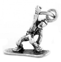 STERLING SILVER JUMPING SNOWBOARDER CHARM / PENDANT - $10.39