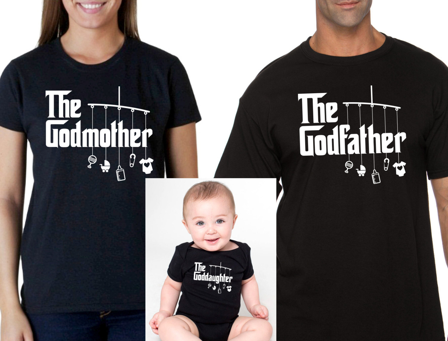 godmother shirt, godfather shirt, goddaughter onesie or t ...