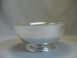 Silver Plate Large Vegetable Serving Bowl Pedestal Base Unknown Maker - $12.95