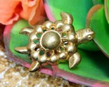 Vintage sea turtle tortoise flippers tiny figural brooch pin gold tone thumb155 crop