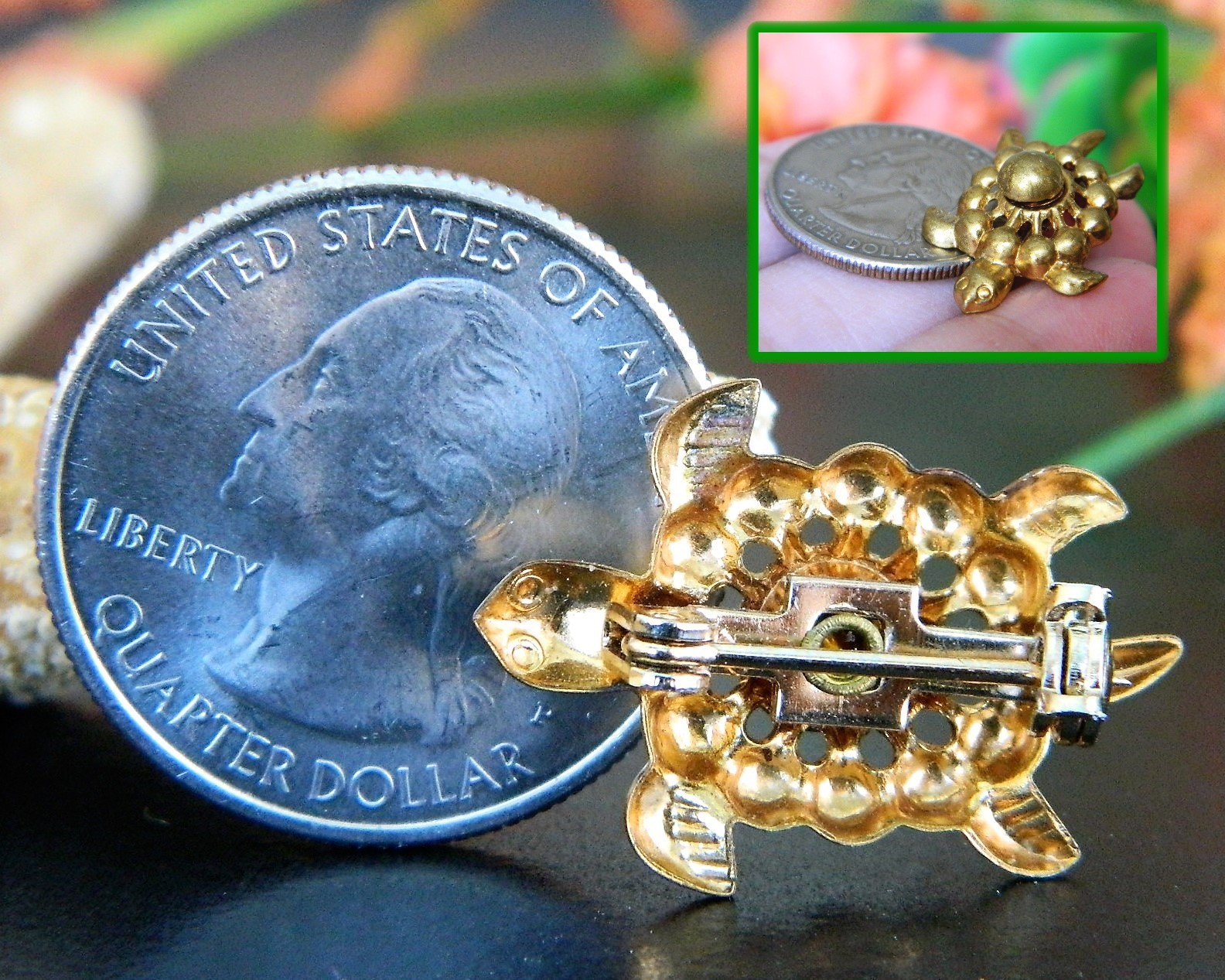 Vintage Sea Turtle Tortoise Flippers Tiny Figural Brooch Pin Gold Tone image 7