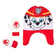 PAW PATROL MARSHALL FIRE-PUP Trapper Beanie Hat & Mitten Set w/ Ears NWT... - $15.83