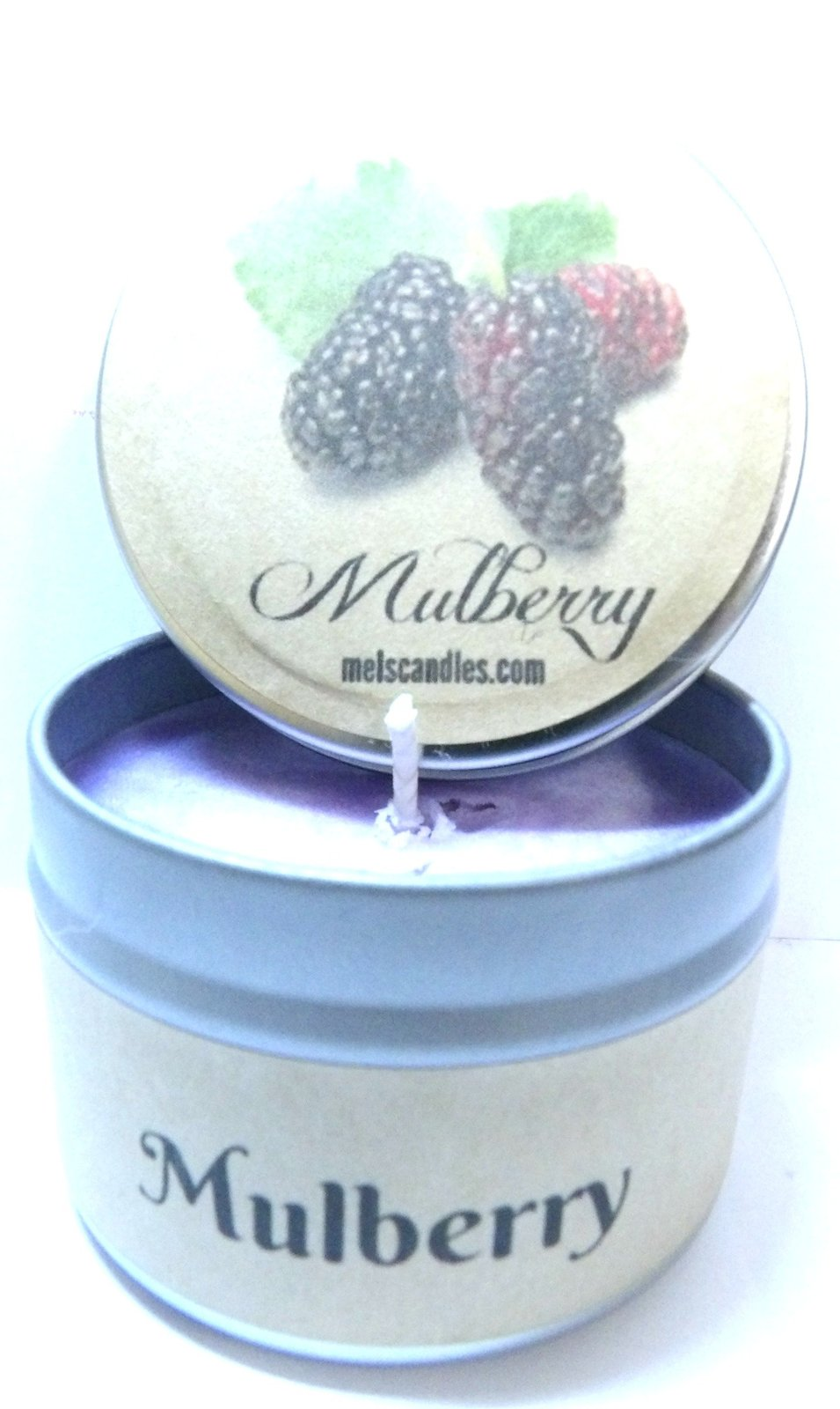 4oz Soy Candle Tin - Mulberry - Handmade with Essential Oil Easy to take any ...