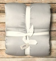 Pottery Barn Portia King Pillow Sham Silk Gray Silver Soft Box Quilted NEW - $49.01