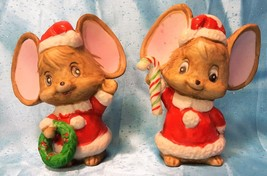 Pair of Vintage Porcelain Christmas Mice Figurines w/ Wreath & Candy Cane - $8.86