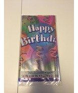 "Unique 54"" x 84"" happy birthday  Disposable Plastic Tablecover ~LOT OF 12~ - $22.76"
