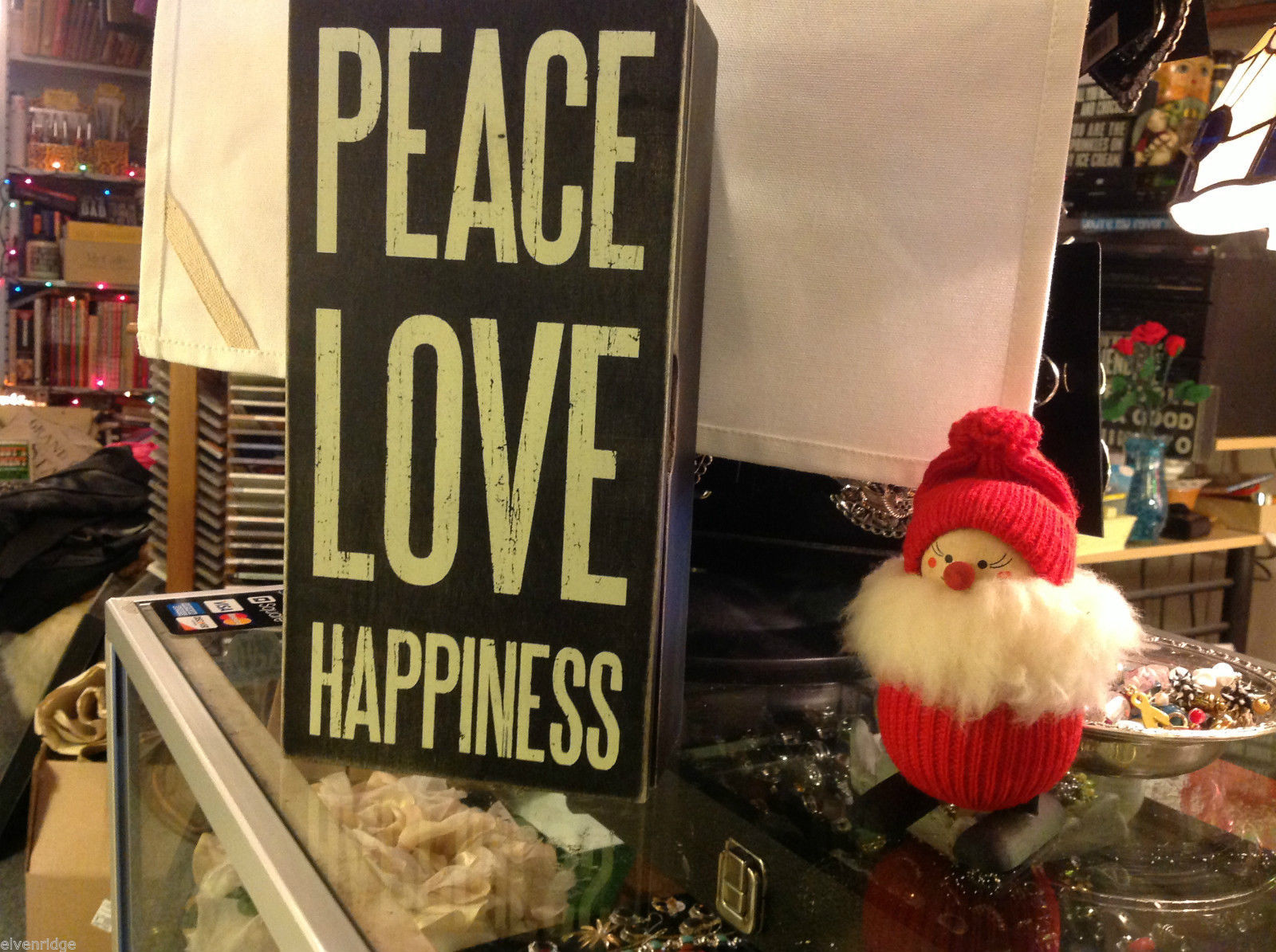 Black Wooden Box Sign Peace Love Happiness Hinged Box with lid