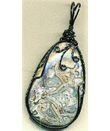 Crazy Lace Agate Black Copper Wire Wrap Pendant 18 - $22.95