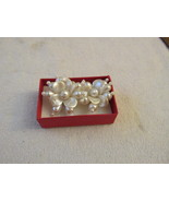 Pearl Like Cluster Floral Clip On Earrings - $5.50
