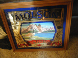 "Vintage Molson Beer & Geese Mirrored Glass Framed Picture - 18"" X 16"" - $49.49"