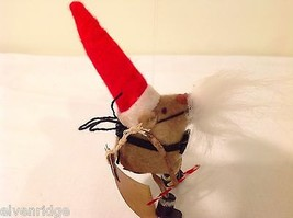 Vintage look Handmade Felt Mouse Ornament in Santa's Beard and Hat w/Candy cane image 6