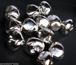 "Lot 25 Shiny Silver Jingle Bells ~ 25mm (~1"" ) Metal Craft Holiday Bells 1 Inch - $5.93"
